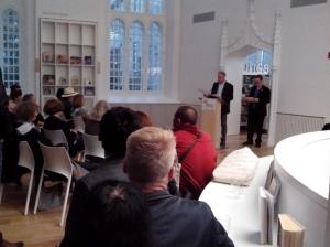 Cocktail de bienvenue à la Maison de la littérature - Bernard Gilbert, directeur génréral et Louis Jolicoeur